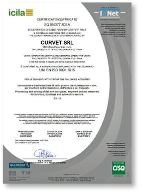 Curvet _ Certificazione UNI EN ISO 9001 _ SQ184377-ICILA